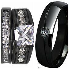 SZ 5-15 Black Wedding Engagement Ring Set Pair Princess Cut Anniversary Propose