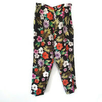 SILKLAND WOMENS 100% SILK DRESS PANTS TROUSERS SIZE 6 BLACK FLORAL TROPICAL