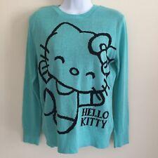 Womens Juniors Hello Kitty by Sanrio Teal Aqua Sweater Size Medium EUC