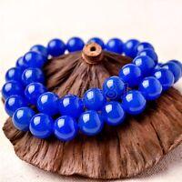 "8mm Natural Blue Jadeite Jade Round Gemstone Loose Beads 15"" Strand AAA"