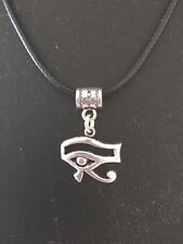 Egyptian Eye of Horus Necklace Silver plated Pendant 20 mm wide on black cord