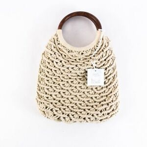 Sigrid Olsen Macrame Purse Crochet Handbag Natural Cotton Bamboo Handle Handmade