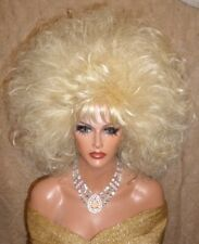 Drag Queen Wig Teased Out Big Medium Length Curls Bangs Lightest Bleached Blonde