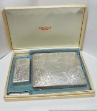 Loring Andrews Sterling Silver Zippo Lighter Cigarette Case Combo W/ Org Box