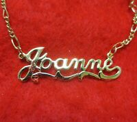 14KT GOLD EP 2MM FIGARO ANKLET OR NECKLACE WITH KAY NAME CHARM PENDANT