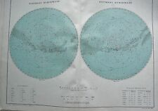 1919 LARGE ANTIQUE PRINT-THE HEAVENS, NORTHERN AND SOUTHERN HEMISPHERES