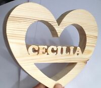 wood heart personalised customised name letter word symbol number present gift