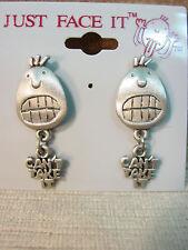 """""""JJ"""" Jonette Jewelry Pewter 'CAN'T TAKE IT' Face Pierced Earrings by J. Benton"""