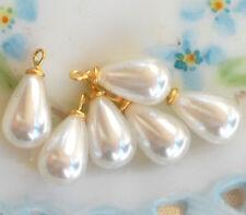 Vintage Beads Drops Dangles Teardrop Pearl Japan 22mm Charms Retro NOS #951