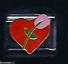 RED HEART PINK ROSE FLOWER WHOLESALE ITALIAN CHARM #84