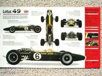 LOTUS 49 F1 Formula 1 SPEC SHEET/Brochure:1967,1968,...