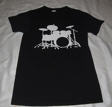 DRUM SET T-SHIRT DRUMMER SHIRT - BLACK - SIZE ADULT SMALL