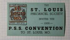 St Louis MO Precancel Society PSS Convention 1938 Philatelic Souvenir Ad Label