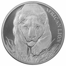 2017 1 oz Chad Silver African Lion Coin (BU) with Light Spotting