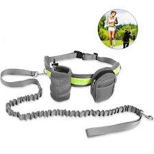 Adjustable Elastic Hands Free Dog Lead Walk Running Jogging Waist Belt Leash Bag