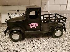 """Metal Truck W Bbq Pig / Black Pink 19"""" X 10"""" X 10"""" Tin Vintage Style Rustic New!"""