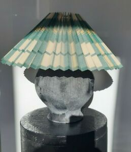 Large Vintage pleated lampshade Green Print Coolie French Country style