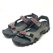 Timberland Men's 13 Wakeby Premium Leather Sandals Gray Red Strap A14NN