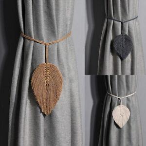 1/2/4X Curtain Tie Backs Buckle Clips Holdbacks Leaf Rope Tiebacks Bedroom Decor