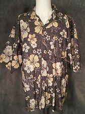 Hawaiian Mens Shirt XXL Sz 2XL Floral Reverse Print Wood Buttons Pocket