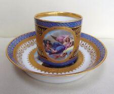 SUPERBE peint à la main 19th siècle Royal Vienna Porcelain Cabinet Tasse & Soucoupe