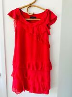 COUNTRY ROAD Size 4 Pink/Red Soft 100% Silk Sleeveless Frilly Party Mini Dress