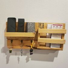 Mail Organizer & Key Hooks Rack Recycled Pallet Wood Handcrafted