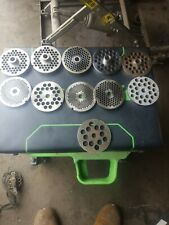 Lot Of 10 Meat Grinder Plates #22, 1/4,3/8,3/16 & other sizes