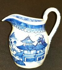 19th Century Chinese Export Porcelain Blue Canton Decorated Cream Pitcher