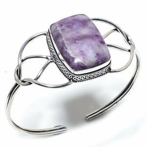 Lipedolite Gemstone  Ethnic 925 Sterling Silver Cuff Bracelet Adjustable