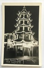 Real Photo Postcard RPPC Los Angeles California Chinatown Golden Pagoda at night