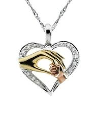 Mother and child hands heart pendant created diamond necklace 18inch gift idea
