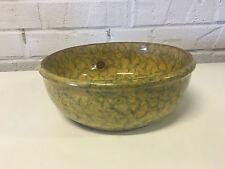 "Antique Sponge Ware / Yellow War Ceramic Pottery Bowl 8 1/4"""