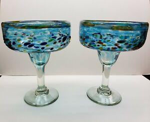 Blue Confetti Margarita Glasses (Lot of 2); 12 oz.