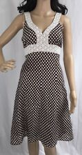 Jonathan Martin Party Dress Size 6 Brown & White Polka Dot Sundress Eyelet Trim