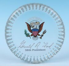 Vintage President Gerald R Ford Glass Paperweight Presidential Memorabilia Eagle