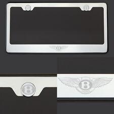 T304 Chrome Polished Bentley Logo Laser Etched Engraved license Plate Frame Tag