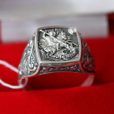 NEW RUSSIAN ORTHODOX ICON RING w/ ST. GEORGE WARRIOR PATRON SILVER 925 AUTHENTIC