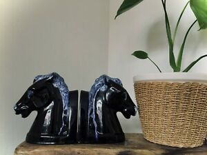 Vintage Black Horse Head Bookends Blue Mountain Pottery Studio Witchy Ghost goth