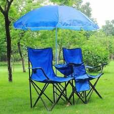 Portable Double Folding Chair Picnic W/Umbrella Table Cooler Beach Camping Chair