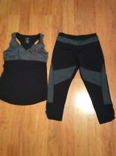 KYODAN WOMANS CAPRI PANT & TANK TOP RACERBACK BLACK WITH GRAY SIZE M