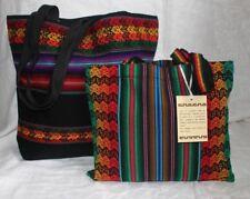 PERUVIAN HANDMADE SHOULDER BAG TOTE LARGE MEDIUM SET HOBO MANTA BLACK NEW  (2.1)