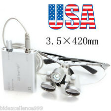 From USA Silver Dental Surgical Binocular Loupes 3.5X 420mm Head Light Lamp Set