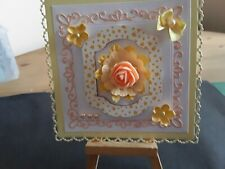 Handmade Floral Card Topper, Birthday, Mothers Day, Flowers, Bow.