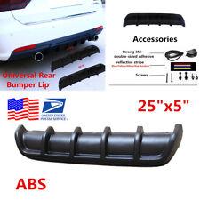 "1Pcs 25""x 5"" ABS Matte Black Car Rear Shark Curved Addon Bumper Lip Diffuser Kit"