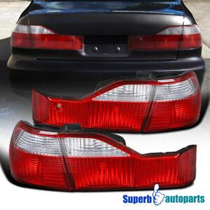 For 1998-2000 Honda Accord 4 Door Sedan Red/Clear Tail Lights Lamps Pair 98-00