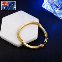 NEW 18K Gold Plated 7MM Snake Scales Chain Solid Link Bracelet Mens & Womens