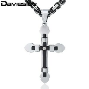 Stainless Steel Cross Pendant Necklace Black&Silver Byzantine Chain Father Gift