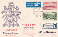 israel to mexico 1957 first  flight stamps cover  r15394