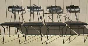 Set 4 Atomic Mid Century Modern Wrought Iron Dining Chairs Poly Of Calif. 1950's